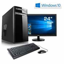 "Entertain PC IDV A10-7850K-2 inkl. Windows 10 Home - AMD Quad-Core A10-7850K 4x 3700 MHz, 16GB RAM, 120GB SSD, 1TB HDD, 300MBit/s WLAN, 10in1 CardReader - 24"" LED Monitor, Tastatur-Maus Set -"