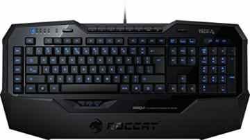 Roccat Isku Illuminated Gaming Tastatur (DE-Layout, blaue Tastenbeleuchtung, 36 Makrotasten inkl. 3 Thumbster-Tasten) schwarz -